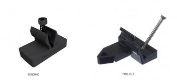 SENOFIX und TENI®-Verlegeclip für die unsichtbare Befestigung von Terrassendielen mit Hohlkehle
