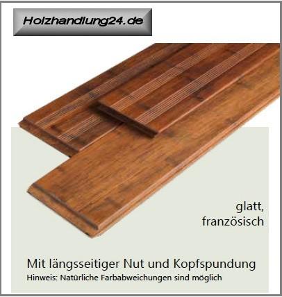 Bambus Terrassendielen glatt/französisch 220cm lang 140x20mm