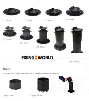 QuickFix Terrassenlager justierbar Aufbauhöhe von 40 – 70 mm